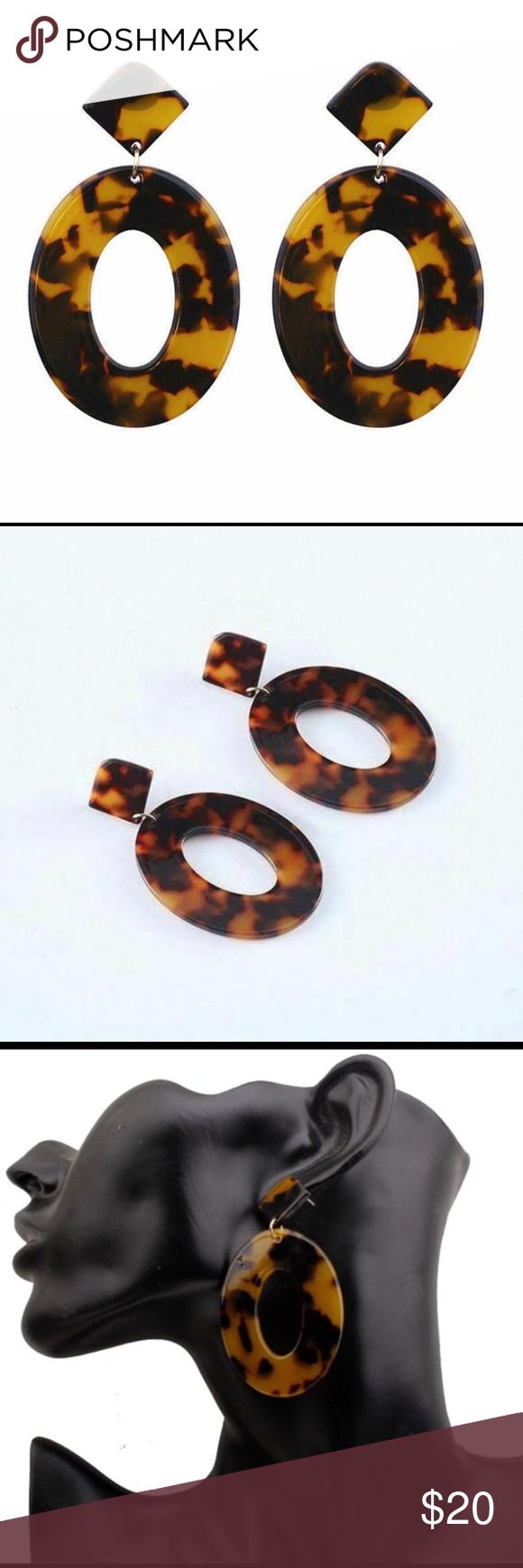 Acrylic Tortoise Earrings Boho Geometric Shape Acrylic Tortoise Earrings Boho Geometric Shape  Acrylic & Alloy  #0125 Jewelry Earrings