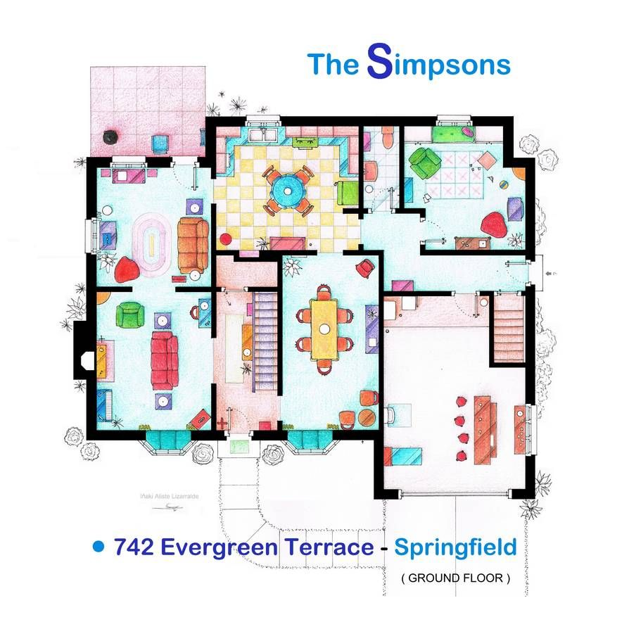 House Of Simpson Family Ground Floor By Nikneuk On Deviantart House Floor Plans Floor Plan Drawing Floor Plans
