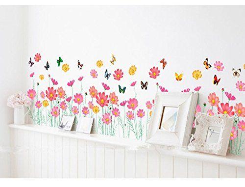 UfingoDecor Fiori Colorati e Farfalle Adesivi Murali, Camera da ...