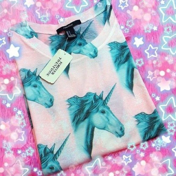 Forever 21 unicorn shirt is also selling on dollskill . NWOT Forever 21 Tops