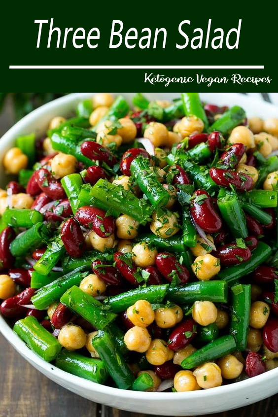 This Three Bean Salad Is A Blend Of Kidney Beans Green Beans And Garbanzo Beans All Tossed In A Sweet And Green Bean Dishes Bean Salad Recipes Greens Recipe