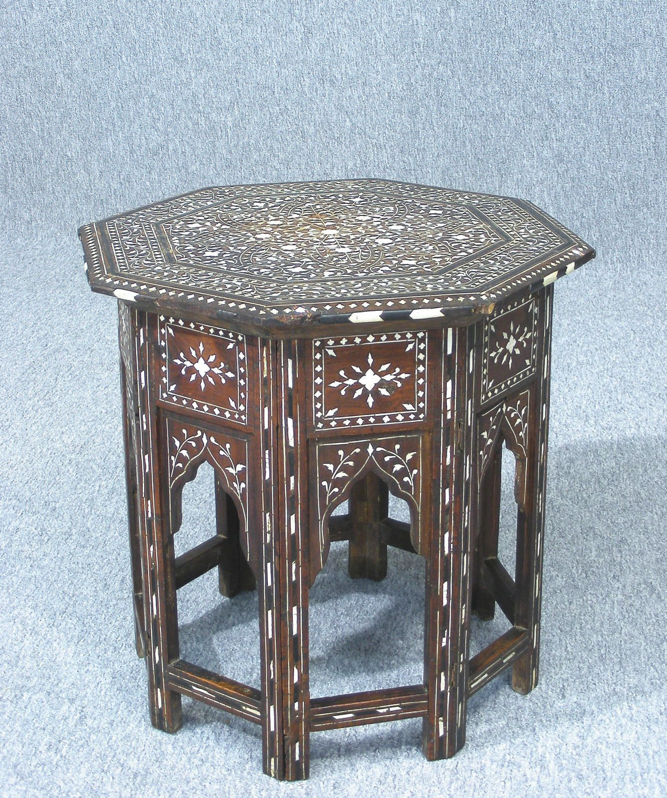 Genuine Antique Inlaid Anglo Indian Octagonal Side Table c