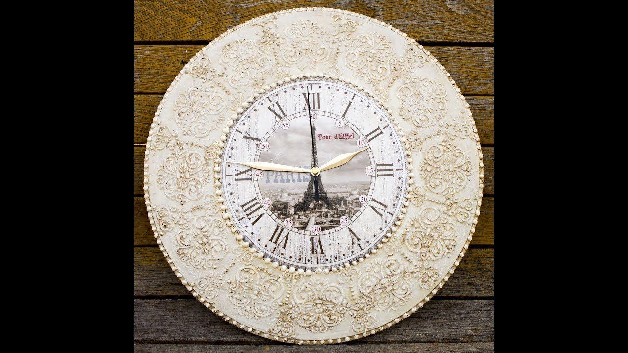 Decoupage Reloj De Pared Grande Vintage Diy Paso A Paso Painting  ~ Relojes Grandes De Pared Vintage