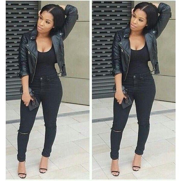 Jacket Black Girls Killin It Leather High Waist Black Pants Black
