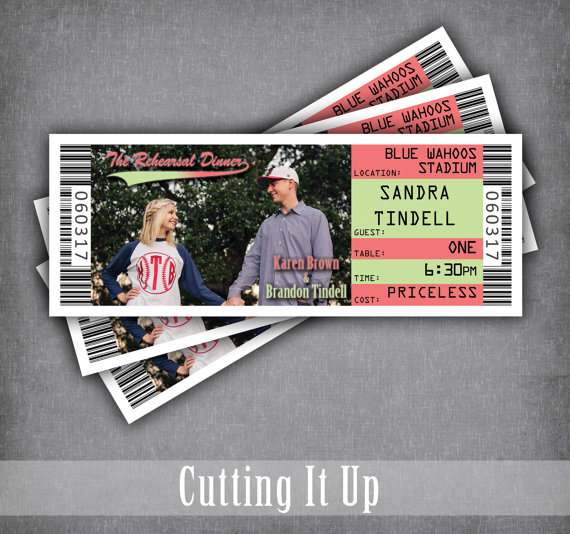 Rehearsal Dinner Ticket Place Cards, Seating Cards, Baseball - dinner tickets template