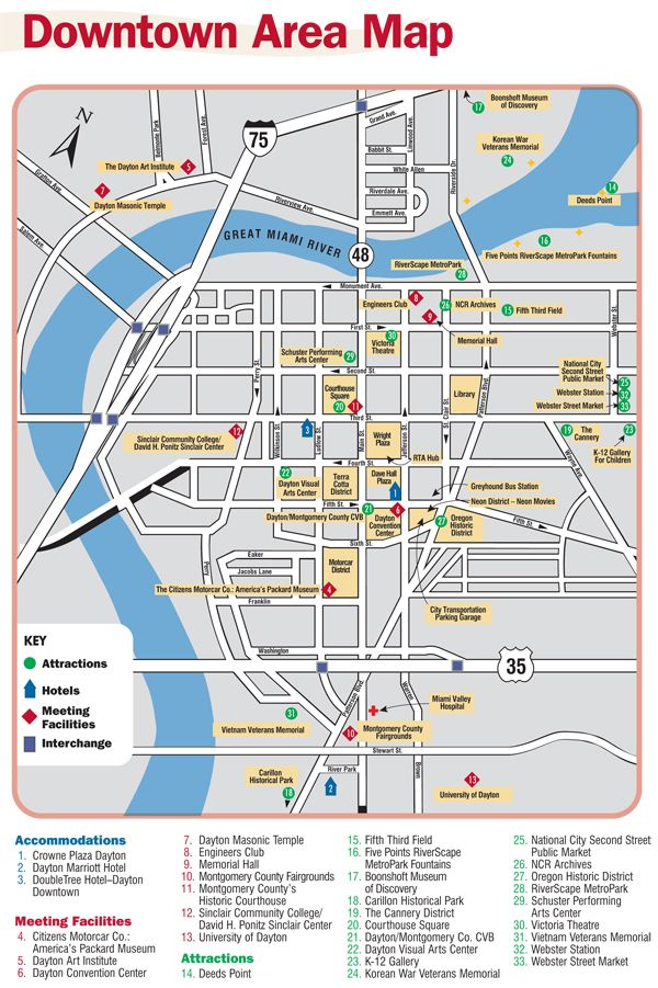 Downtown Dayton Map Prior To The Greyhound Bus Station Moving From