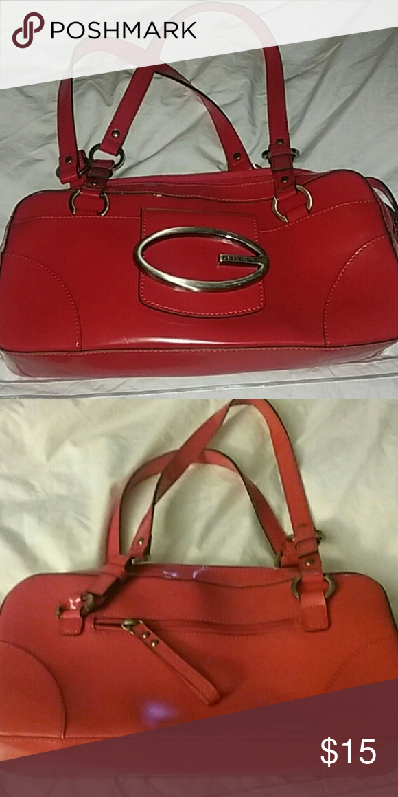 Guess Red Purse Pre Owned Minimal Wear And Tear Bags Shoulder Designerpurses