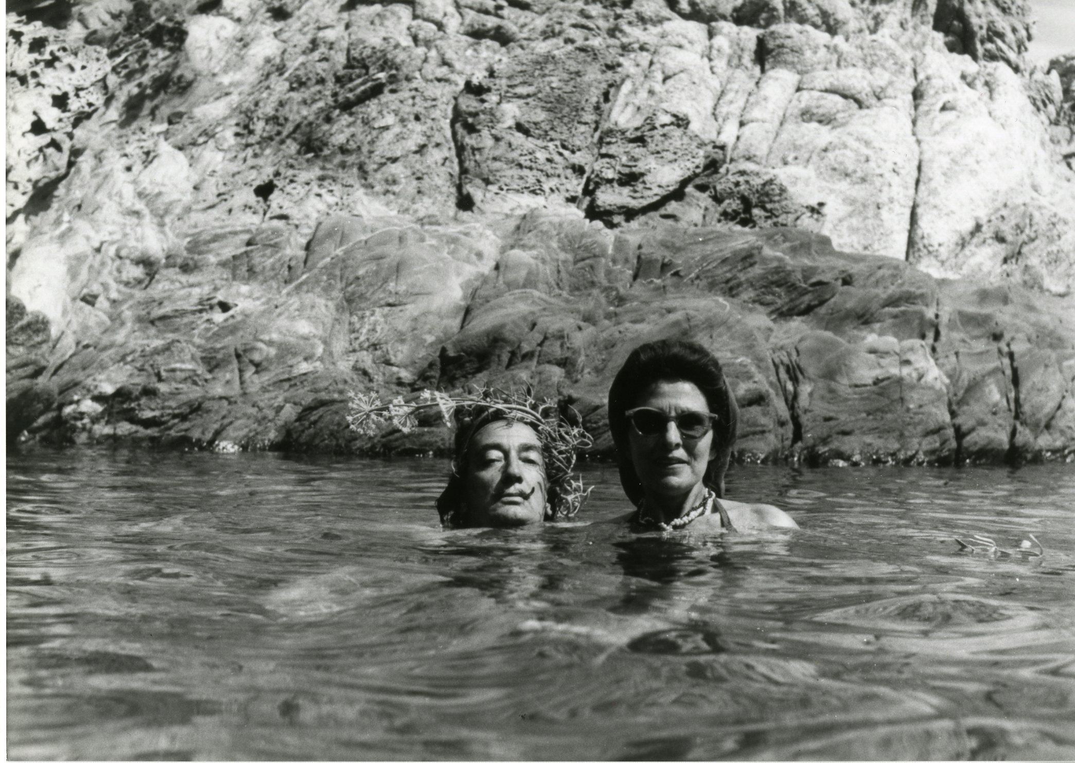 Dali Wearing A Crown Of Wild Flowers With Gala In The Culip Cove 1959 Descharnes Dali Photo Salvador Dali