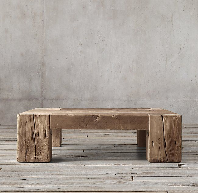 reclaimed english beam square coffee table occasional tables in rh pinterest com
