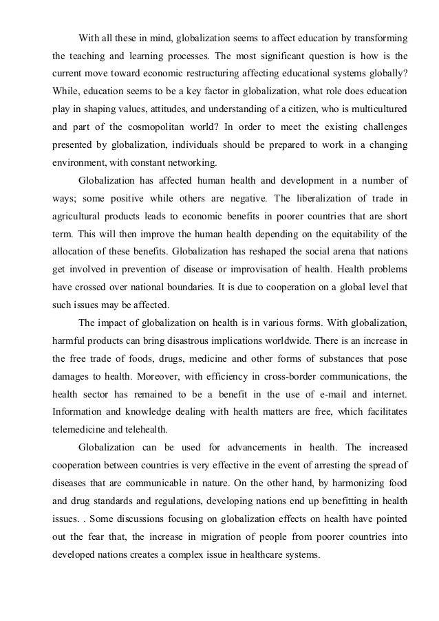 Essay Globalization In 2021 On Education Easy Save Environment Essays