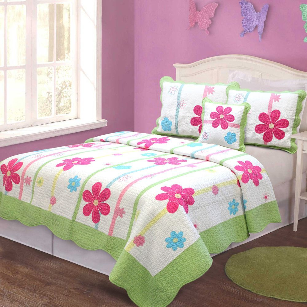 Bed sheet set with quilt - Girl Floral Quilt Bedding Set Kids Twin Size Patchwork 100 Cotton Multi Colored