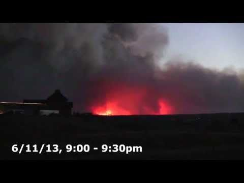 Video image compilation of 12 hours of the Black Forest Fire, in Black Forest, Colorado, as viewed from our property just 1.5 miles east of the pre-evac border.