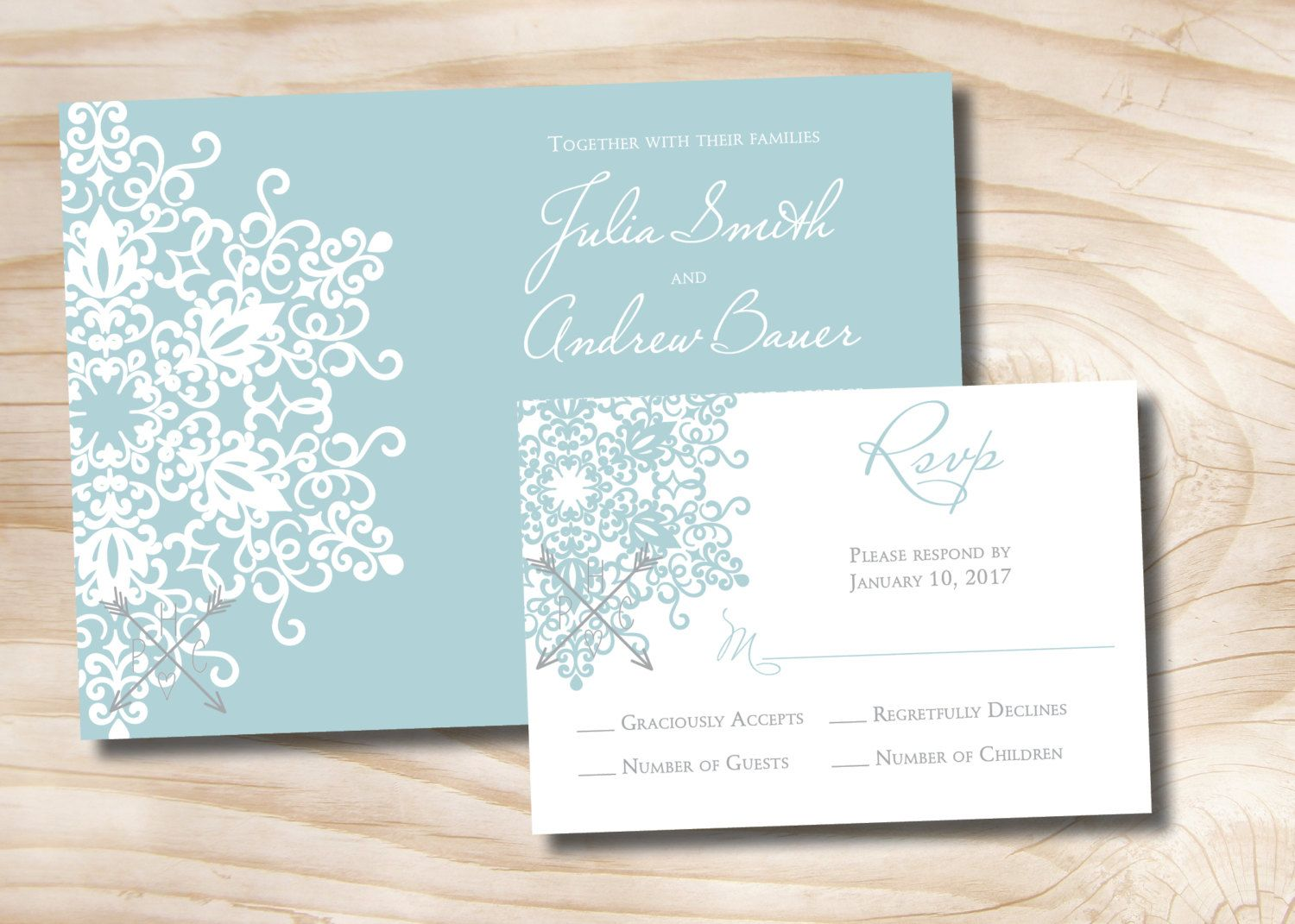 contemporary wedding invitation cards%0A MODERN SNOWFLAKE Winter Wedding Invitation and Response Card Invitation  Suite