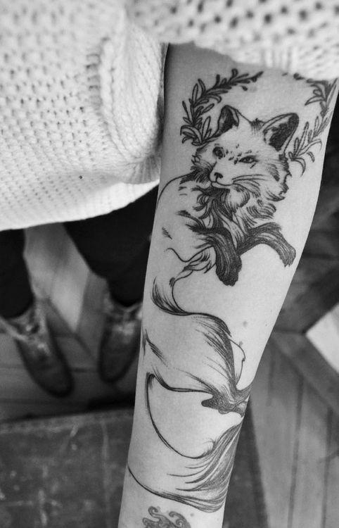 Black And White Fox Arm Tattoo Inspirational Tattoos Tattoos Fox Tattoo Design