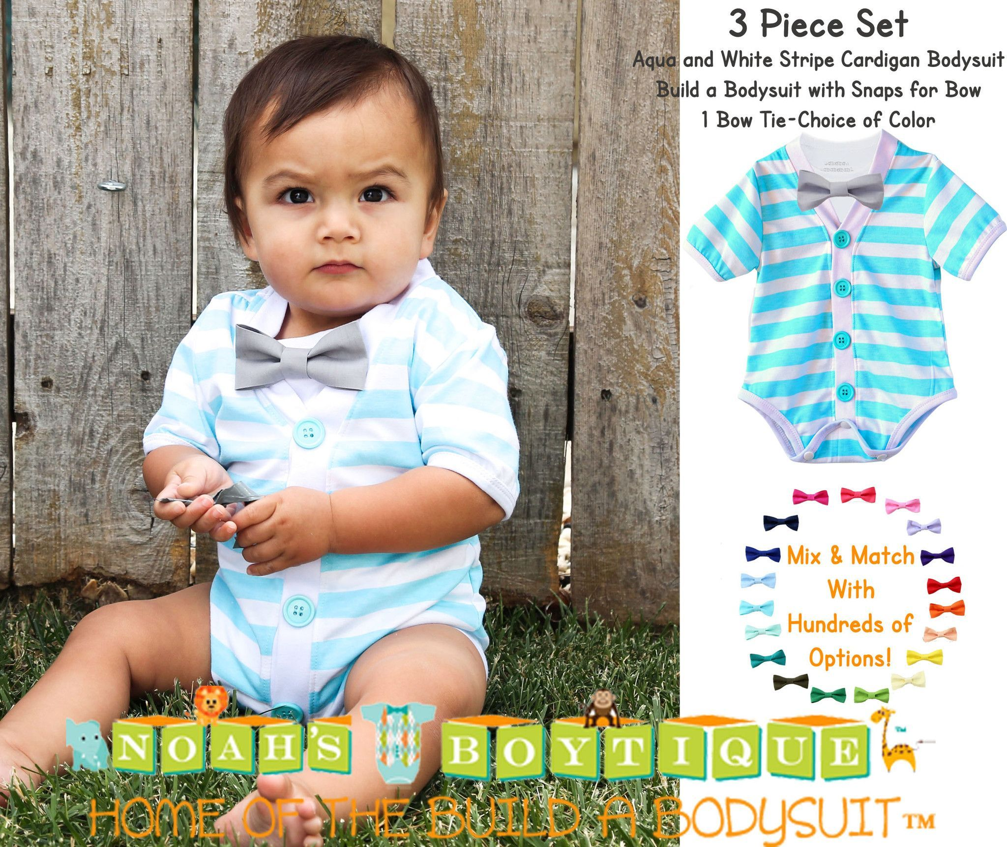 3dc2052ec040 Baby Boy Cardigan Outfit with Bow Tie Aqua Blue and Grey Set
