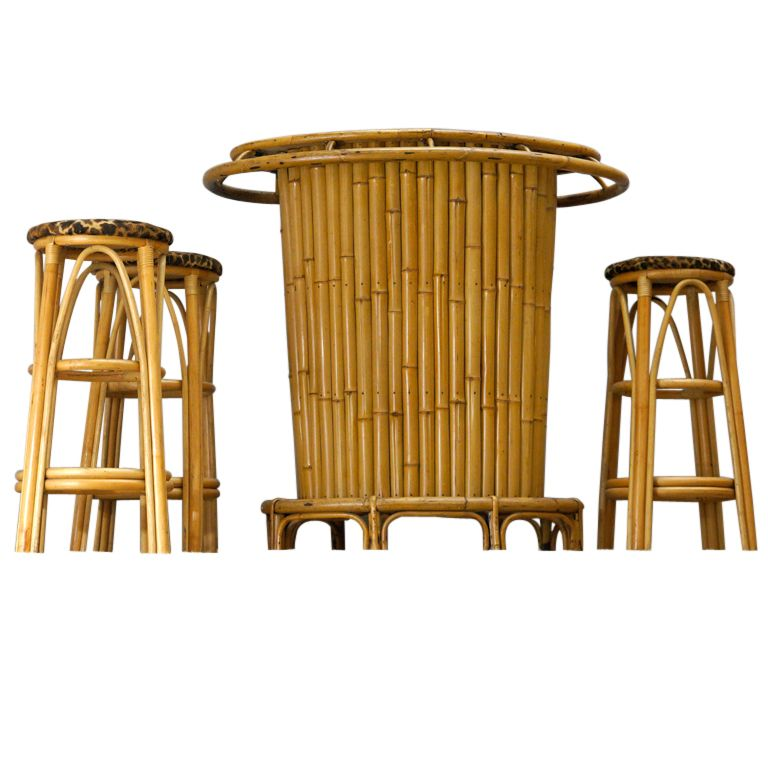 Bamboo design French 1950s Bamboo Bar with
