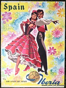 1960 Spain IBERIA Original Vintage Travel Airline Poster Flamenco Gypsy Andaluz