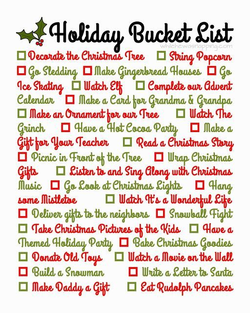 Printable} Holiday Bucket List Buckets, Holidays and December daily - christmas list template for kids