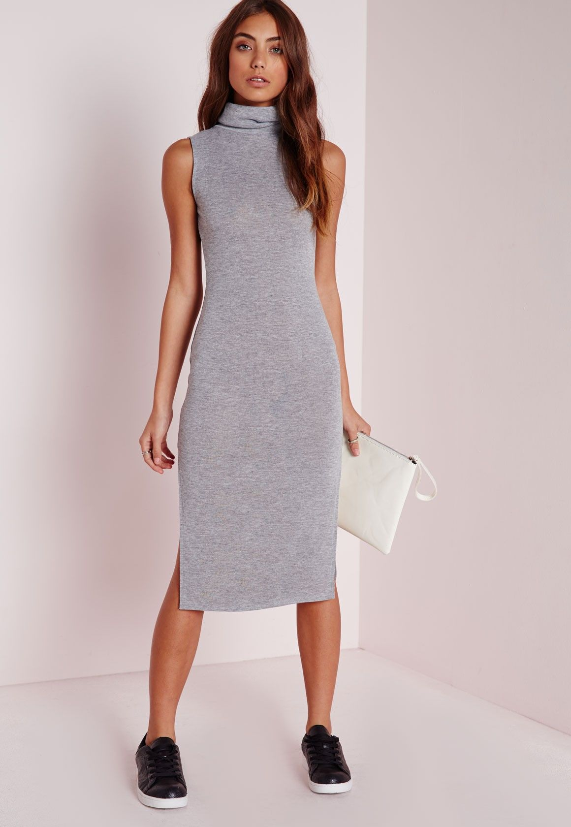 b09618a17939 Missguided - Roll Neck Knitted Midi Dress Grey Marl