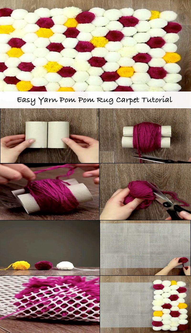 Easy Yarn Pom Pom Rug Carpet Tutorial Diy Yarn Crafts Pom Pom Rug Yarn Pom Pom