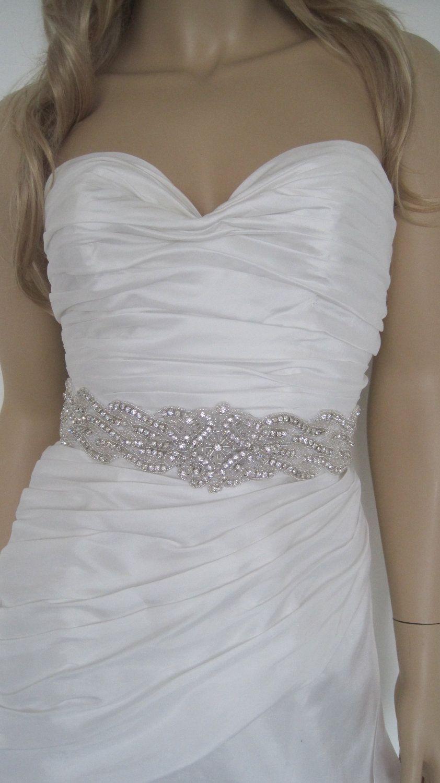 Bridal sashes crystal wedding belts bella b 7900 via