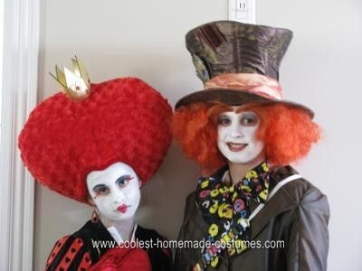 Coolest Homemade Queen of Hearts and Mad Hatter Couple Halloween ...