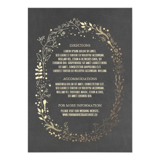 Gold and Chalkboard Floral Wreath Wedding Details