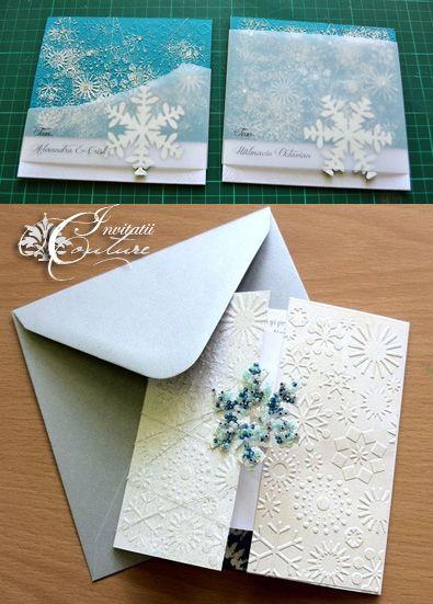 Handmade by Meda Winter Wonderland Wedding Invitations Invitatii