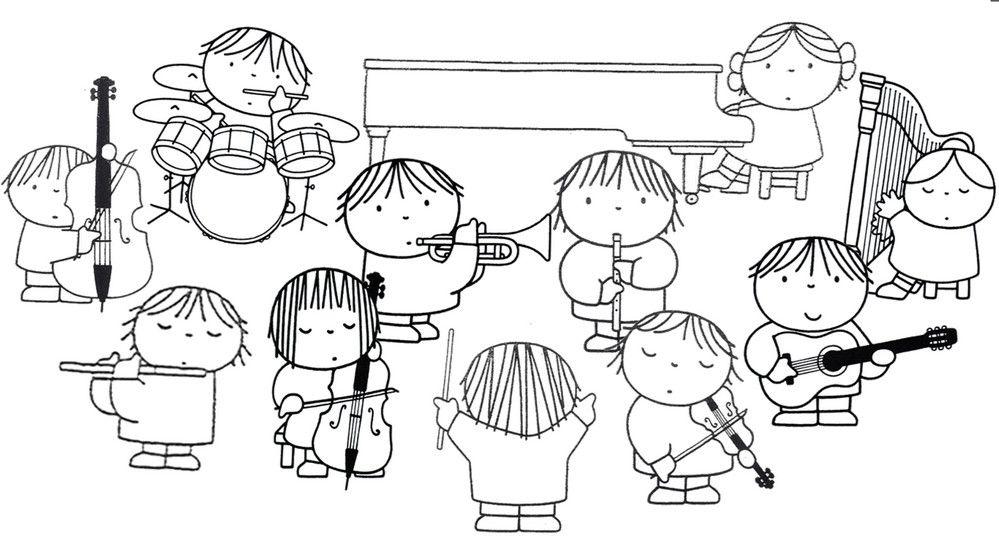 kleurplaat orkest muziek activiteiten