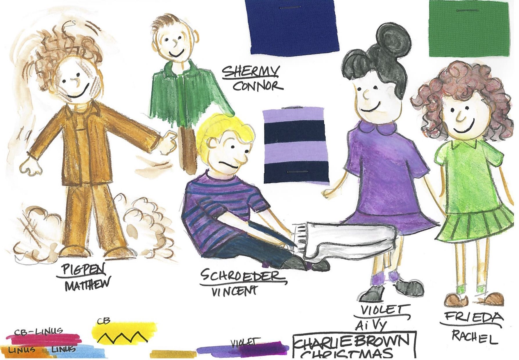Costume design for Shermy, Pigpen, Schroeder, Violet, and Frieda by ...
