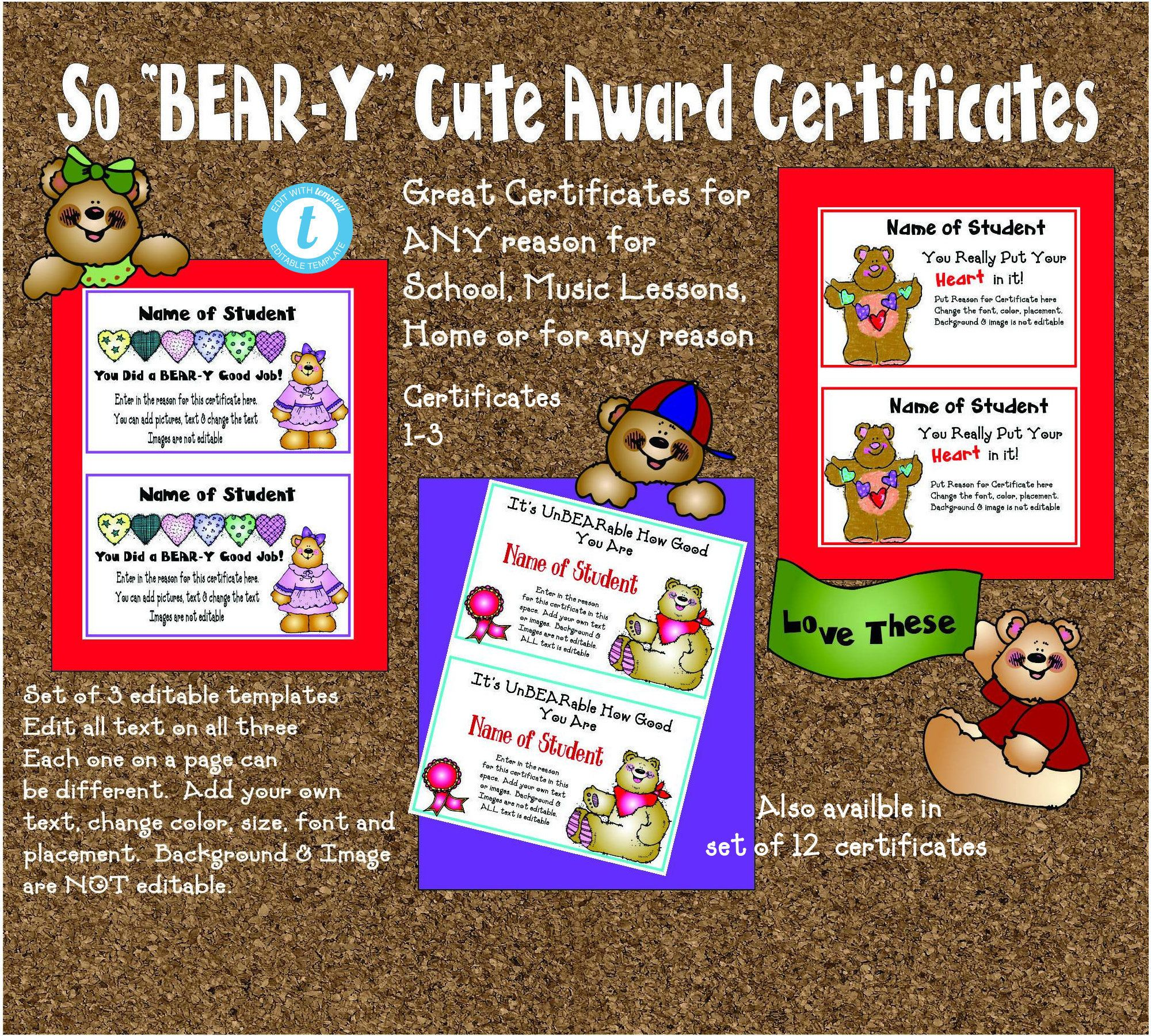 3 Cute Award Certificates-2 to a page-All text editable - School-Music-Home-Family-Teachers-Preschool-nursery-beary
