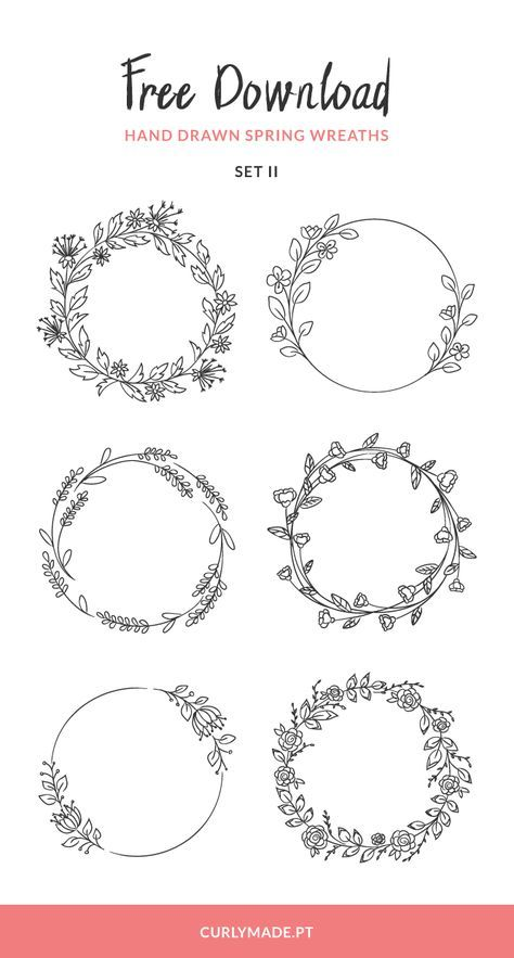 Free Download: Hand Drawn Spring Wreaths II | Curl
