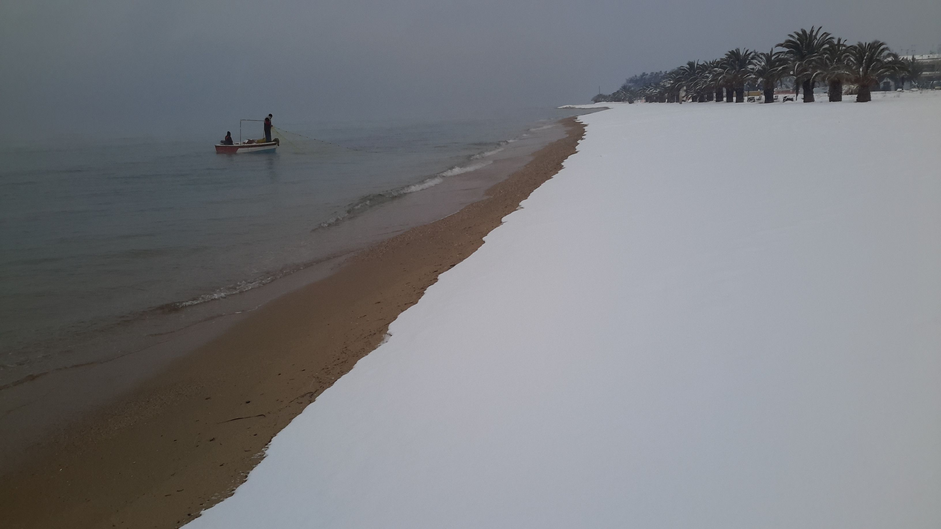 A Snow Covered Beach In Chalkidiki
