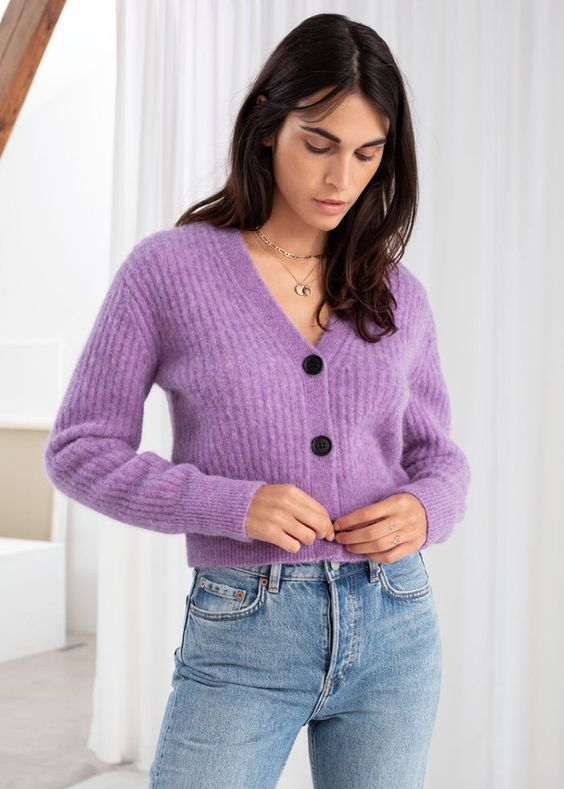 20 With Button Colorful Short Sweaters That Always Look Fantastic