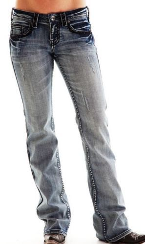 Cowgirl-Tuff-Western-Jeans-Womens-XOXO-Black-Sequins-Med-Wash-JXBLCK