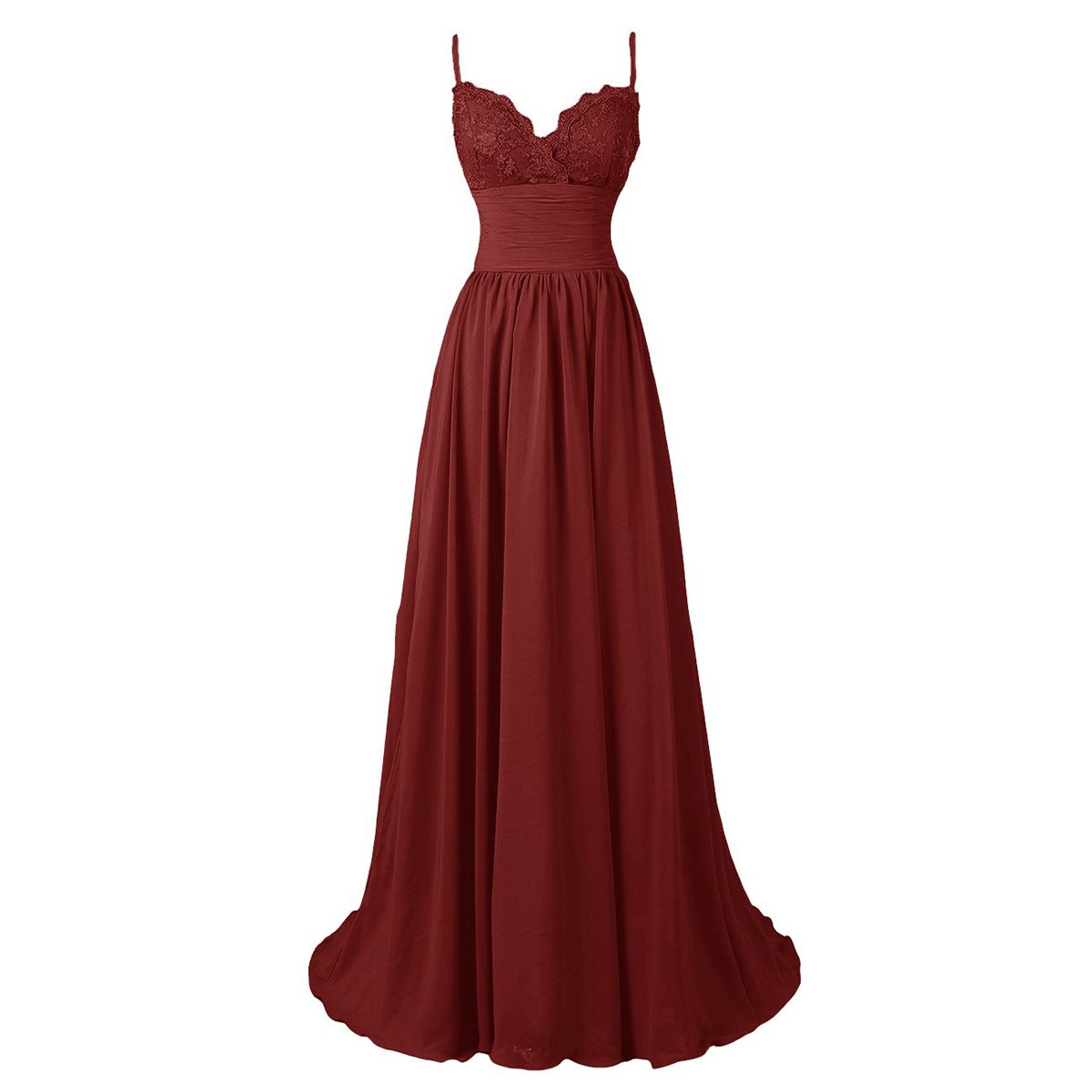 6755fb9b375 Burgundy Floor Length A-Line Pleated Prom Dress Featuring Lace Plunge V  Spaghetti Strap Bodice with Ruched Belt