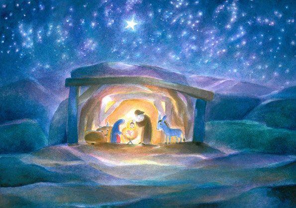 krippe  weihnachten gemälde religiöse kunst postkarten