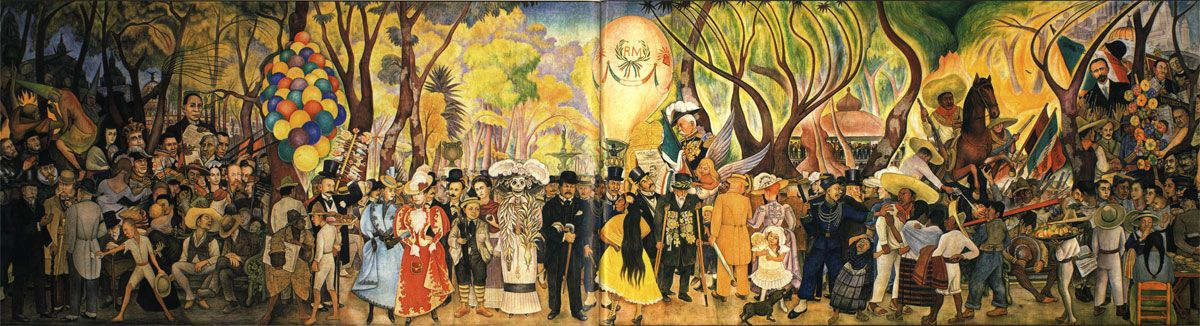 Diego rivera dream of a sunday afternoon in alameda for Mural mexicano