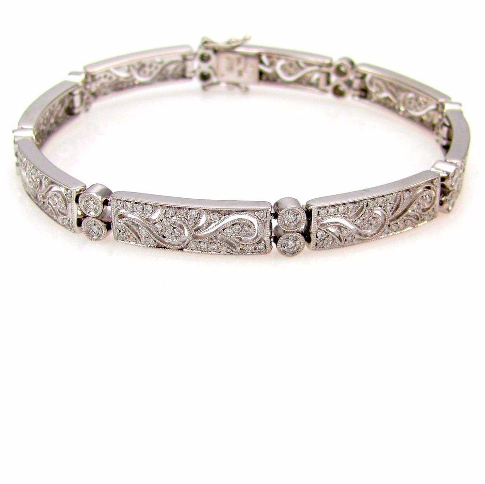 SIMON G Pave Diamond Milgrain Estate Bracelet 18K White Gold | FJ #SimonG