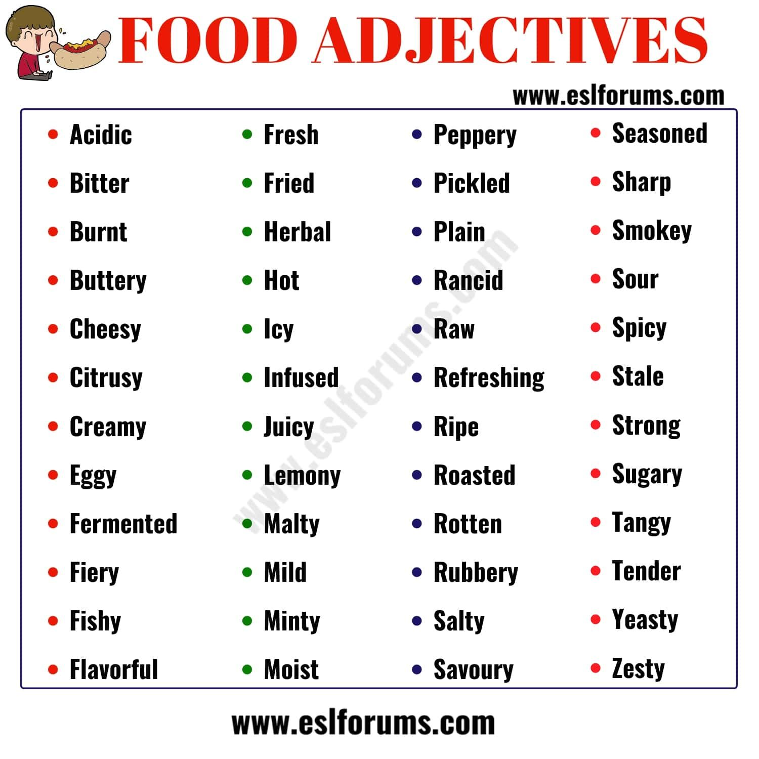 Food Adjectives 48 Useful Words To Describe Food In English With