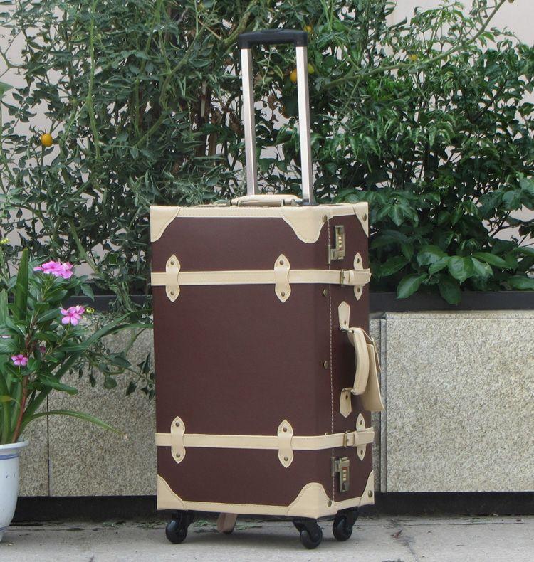vintage trolley luggage travel bag with wheels in brown and beige ...