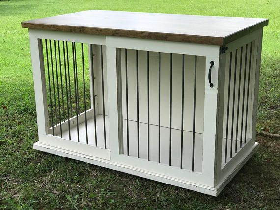Beautifully Crafted Home For Your Pet This Kennel Table Serves As A Dual Functioning Piece Of Furniture B Dog Crate Furniture Custom Dog Houses Dog Furniture