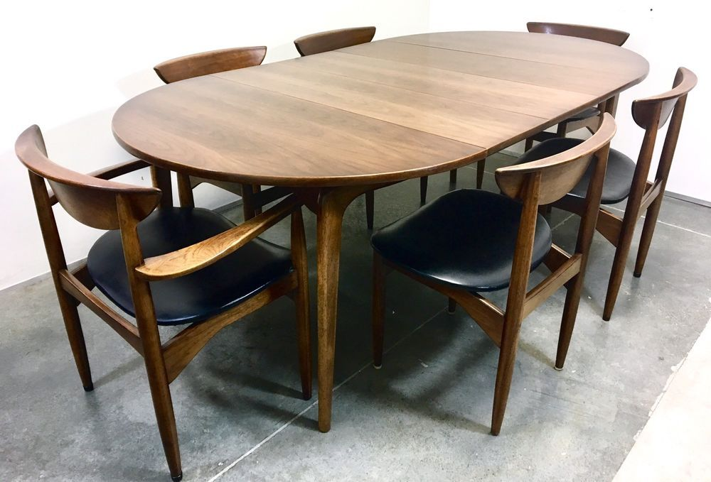 Mid Century Modern Dining Table With 6 Chairs Lane Perception Walnut Mcm Vintage Ebay
