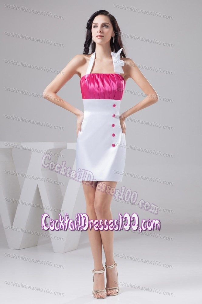 Taffeta Hot Pink and White Halter Cocktails Dresses Ruched | Sexy ...