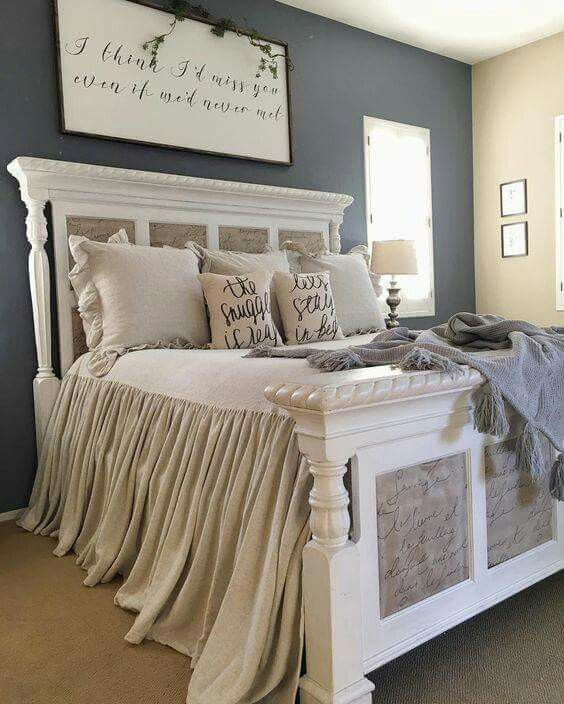 Farmhouse Style Bedroom With A Great Headboard Bed Frame And Diy