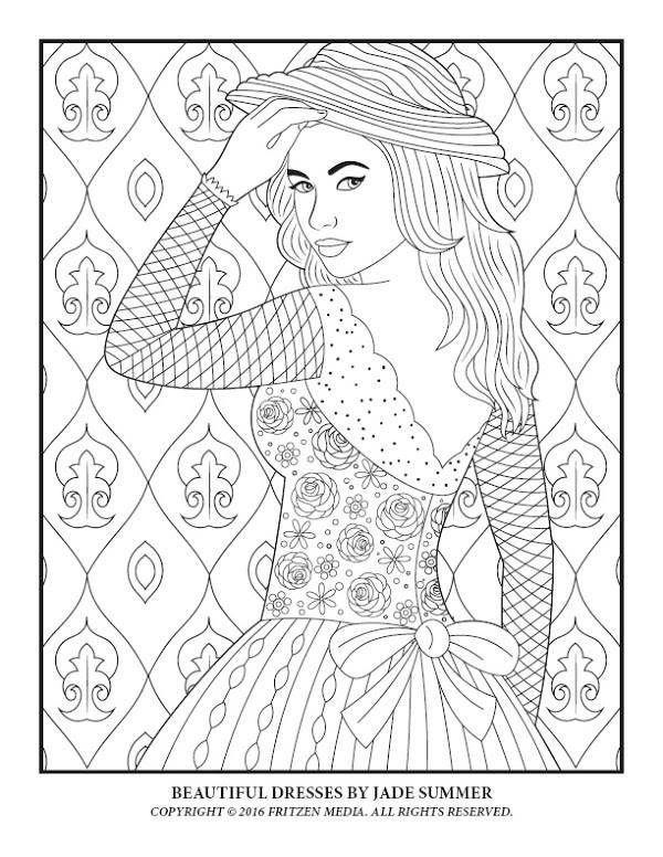 Beautiful Dresses By Jade Summer Print Version Https Www Amazon Com Jade Summer E B01hu2wu26 Dig Summer Coloring Pages Coloring Books Coloring Pages