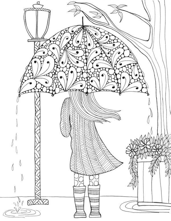 Rainy day coloring page | Zentangles & Mandalas | Free adult ...