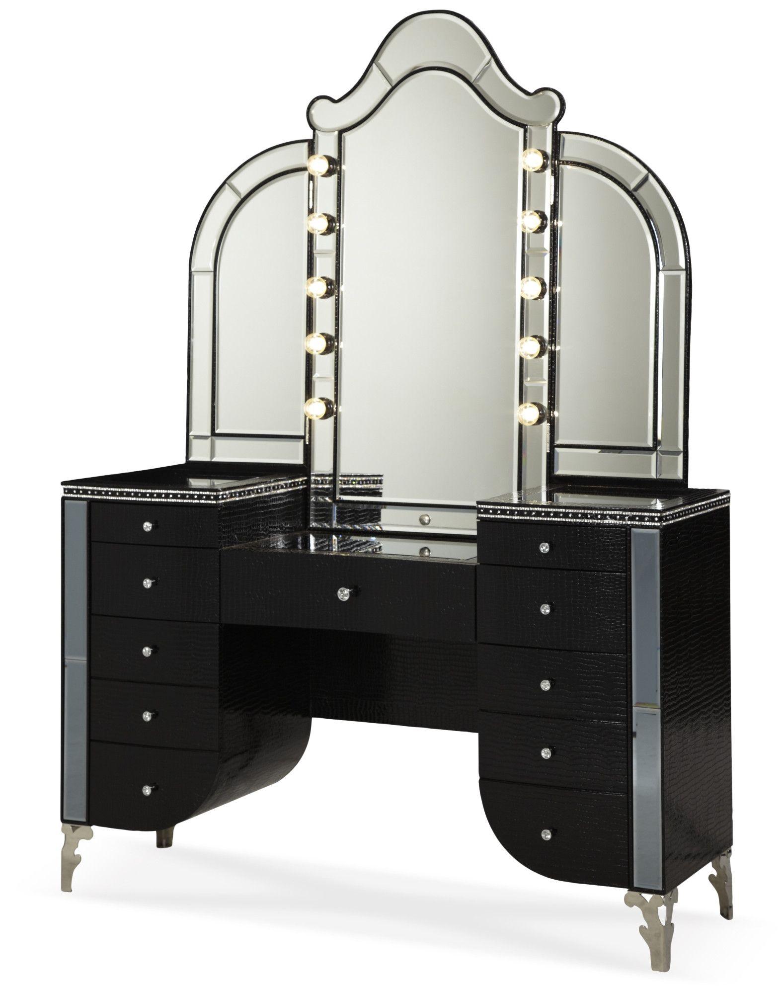 Aico Hollywood Swank Upholstered Vanity & MirrorBlack