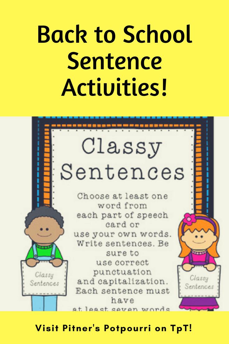 Back To School Sentence Activities Sentence Activities Back To School Sentences