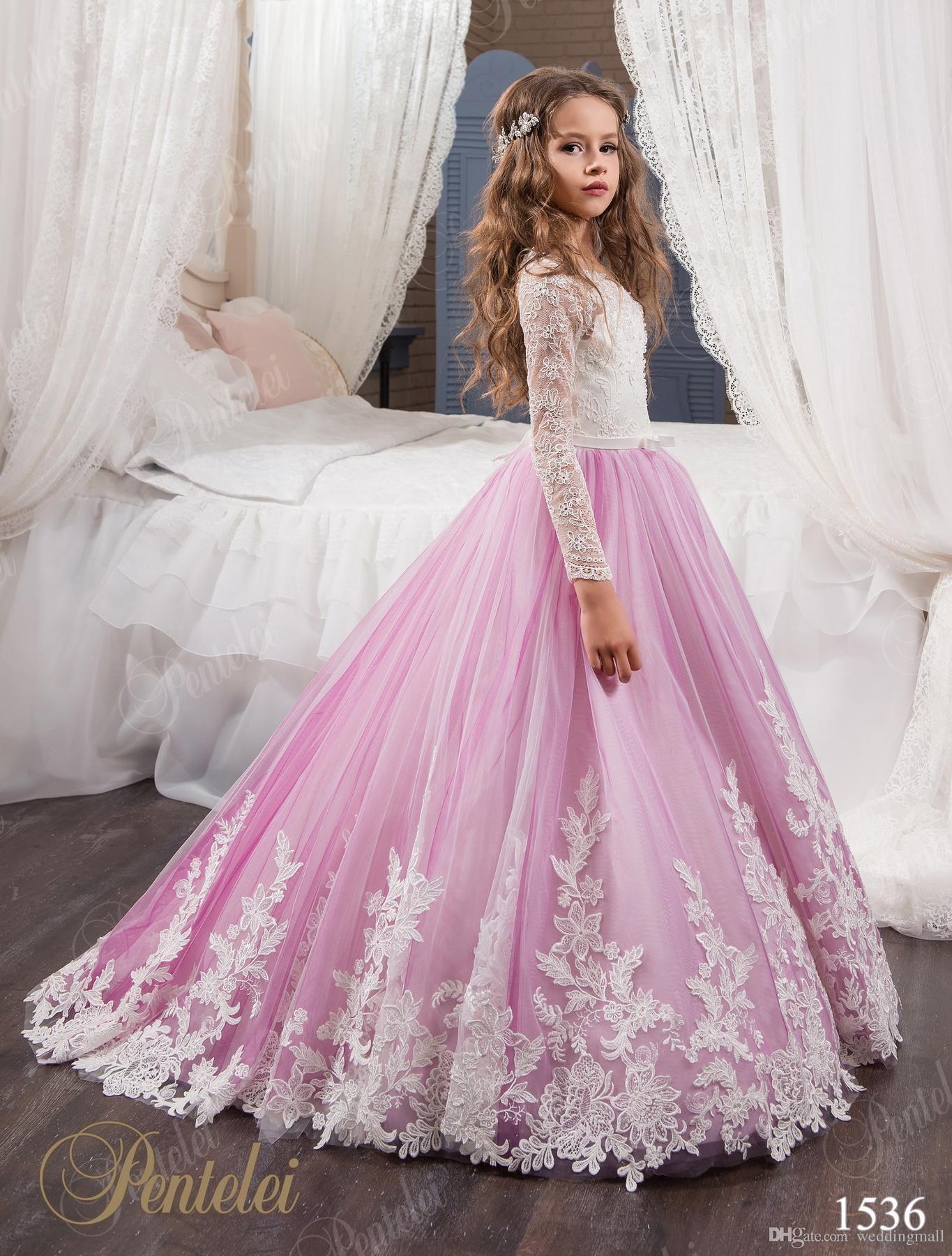 Vintage princess floral lace arabic 2017 flower girl dresses long vintage princess floral lace arabic 2017 flower girl dresses long sleeves tulle child dresses beautiful flower girl wedding dresses f0678 ombrellifo Images